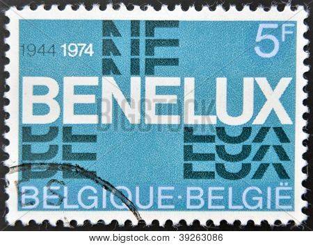 BELGIUM - CIRCA 1974: A stamp printed inBelgium commemorating thirty years of the Benelux (economic