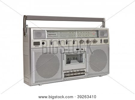 Vintage boom box portable stereo isolated with clipping path.