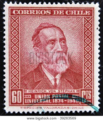 CHILE - CIRCA 1950: A stamp printed in Chile shows Heinrich Von Stephan circa 1950