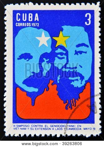 CUBA - CIRCA 1972: Stamp printed in Cuba devoted to Symposium Against Yankee Genocide in Vietnam and
