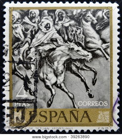 SPAIN - CIRCA 1968: A stamp printed in Spain shows Battle of Tetuan 1860 Painting by Mariano Fortuny