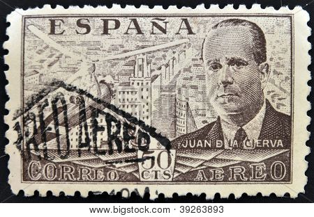 SPAIN - CIRCA 1939: stamp printed in Spain shows Juan de la Cierva and Autogiro circa 1939