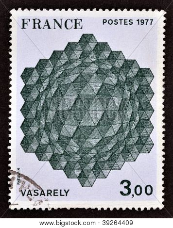 FRANCE - CIRCA 1977: A stamp printed in France showing Victor Vasarely a work of geometric abstract