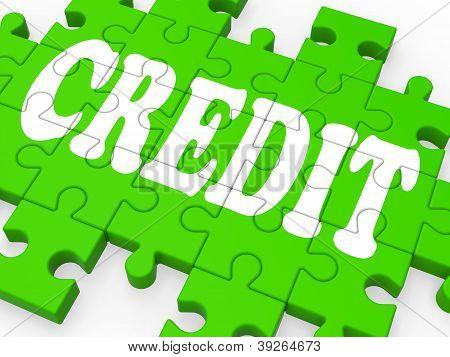 Puzzle de crédito mostra compras sem dinheiro