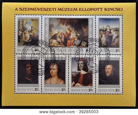 HUNGARY - CIRCA 1984: stamp printed in Hungary shows Lost and found paintings masterpieces of the Mu