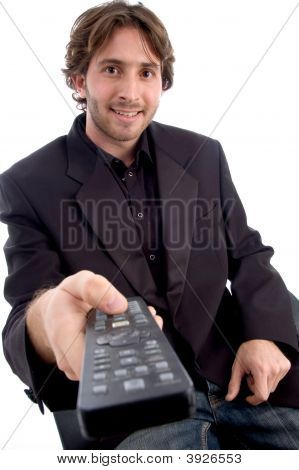 Smiling Man Showing Tv Remote