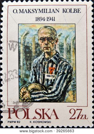 POLAND - CIRCA 1982: a stamp printed in Poland shows Maximillian Kolbe the friar who volunteered to