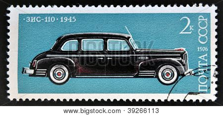A stamp shows ZIS 110 limousine car manufactured by ZIL modeled after Packard Super Eight