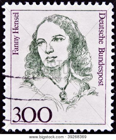 GERMANY - CIRCA 1989: A stamp printed in Germany shows Fanny Hensel Composer Conductor circa 1989