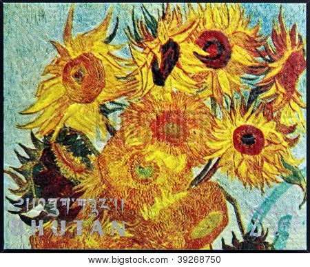 BHUTAN - CIRCA 1980: A stamp printed in Bhutan shows Vase with Twelve Sunflowers (detail) by Vincent