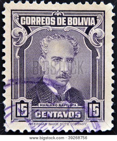 A stamp printed in Bolivia shows Mariano Baptista