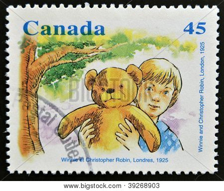 CANADA - CIRCA 1996: stamp printed in Canada shows Winnie and Christopher Robin circa 1996