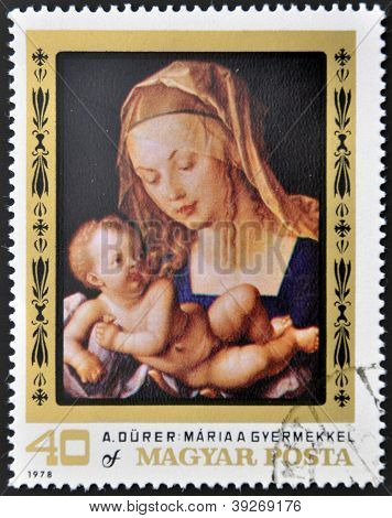 HUNGARY - CIRCA 1978: stamp printed in Hungary shows the painting of the Virgin Mary with Child by A