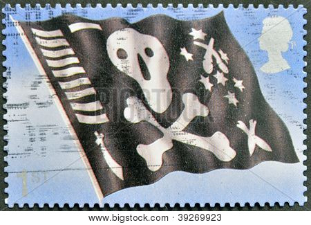 UNITED KINGDOM - CIRCA 2001: A stamp printed in Great Britain shows Jolly Roger skull and crossbones