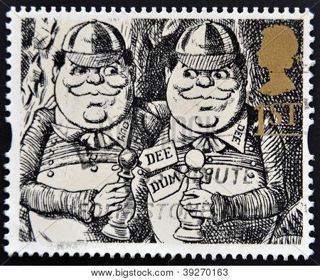 UNITED KINGDOM - CIRCA 1993: A stamp printed in Great Britain shows Tweedledum and Tweedledee (Alice