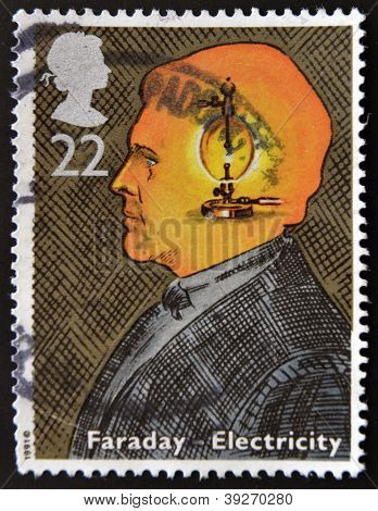 UNITED KINGDOM - CIRCA 1991: A stamp printed in Great Britain shows image of Faraday Electricity cir