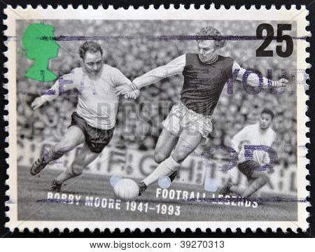 UNITED KINGDOM - CIRCA 1993: A stamp printed in Great Britain dedicated to Football Legends shows Bo