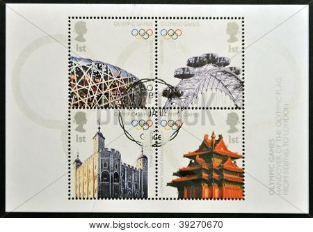 UNITED KINGDOM - CIRCA 2008: Four stamps deciated to Olympics Handover from Beijing to London circa