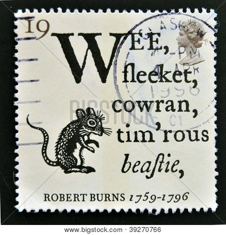 UNITED KINGDOM - CIRCA 1996: A stamp printed in Great Britain shows Opening Lines of 'To a Mouse' an