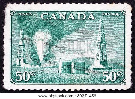 Postage stamp Canada 1950 Oil Wells, Alberta