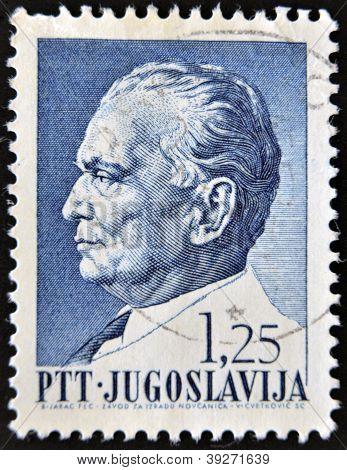 YUGOSLAVIA - CIRCA 1967: stamp printedin Yugoslavia shows portrait of Marshal Josip Broz Tito circa