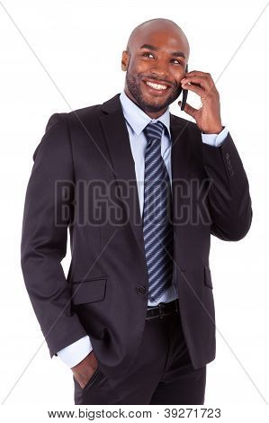 Portrait Of A Young African American Business Man Making A Phone Call