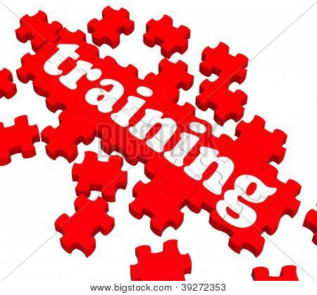 Training Puzzle Showing Business Coaching