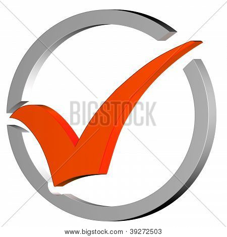 Orange Tick Circled Shows Quality And Excellence