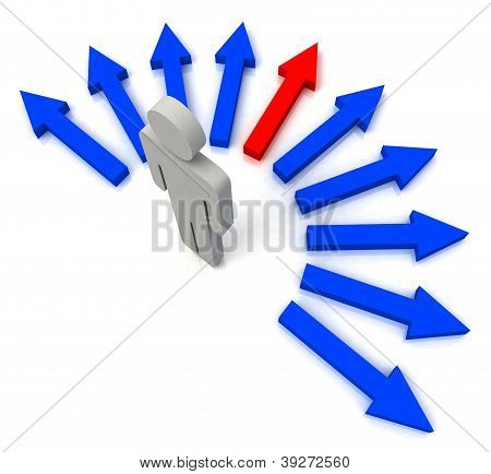 Person With Blue Arrows Shows One Chosen