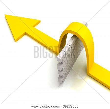 Yellow Arrow Over Wall Means Overcome Obstacles