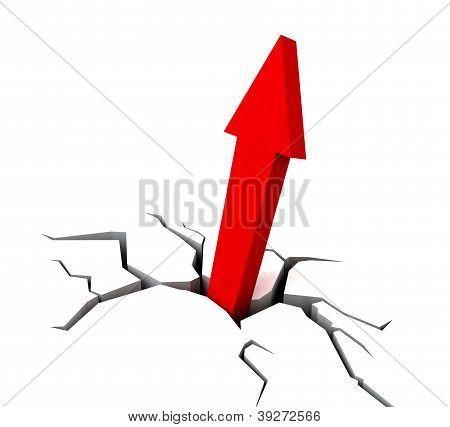 Red Upward Arrow Shows Breakthrough