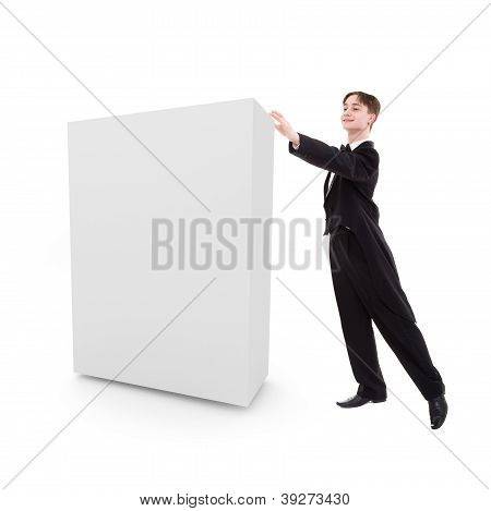 Man Dressed In A Tailcoat Pushes A Blank Box