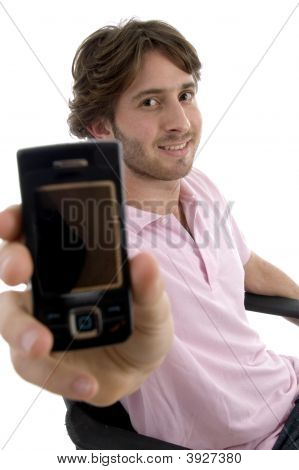 Smiling Man Showing Mobile