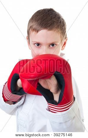 Boy wearing tae kwon do uniform and boxing gloves