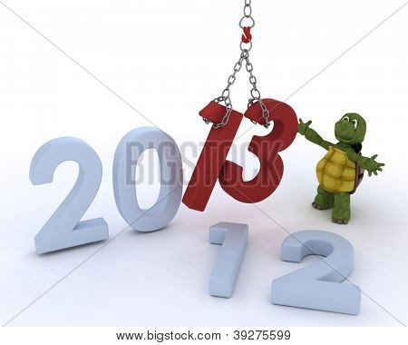 3D render of a tortoise bringing in the new year