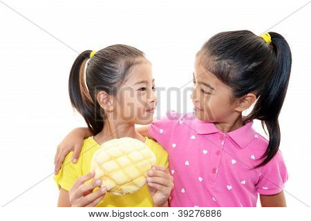 Girls with bread