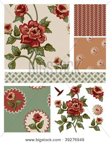Vintage Style Floral Seamless Vector Patterns and Elements.  Use as fills, digital paper for craft projects or print onto fabric for stunning home furnishings.