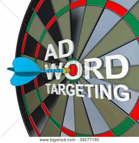 The words Ad Targeting with a dart in the middle of Word to symbolize online pay-per-click also known as ppc advertising in search engines to drive clicks and traffic to your website