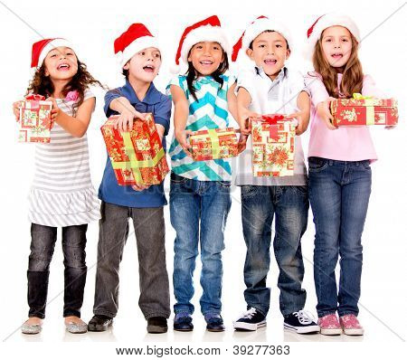 Generous kids giving Christmas presents - isolated over a white background