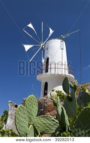 Traditional windmill at Crete island, Greece