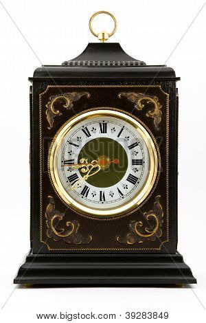 Antique Desk Clock With Gold Rim Around The Dial