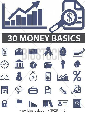 30 money, finance icons set, vector