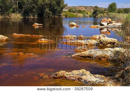 Acidic Rio river Tinto In Niebla