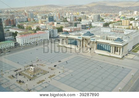 Sukhbaatar square and the view on the outskirts of the city with yurts in Ulaanbaatar