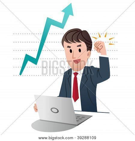 Successful Businessman Raising Fist Up In Air