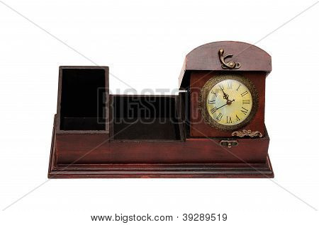 old wooden box and clock
