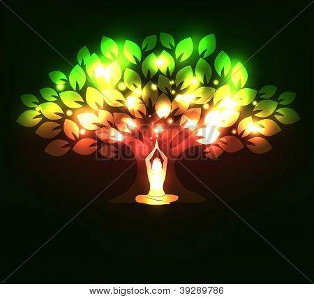 sparkling tree and woman in yoga pose