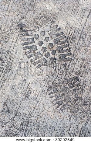 Grunge Textured Concrete Sidewalk Shoe Foot Print