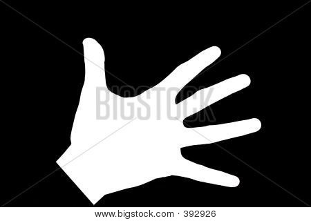 White Hand Isolated On Black - Macro