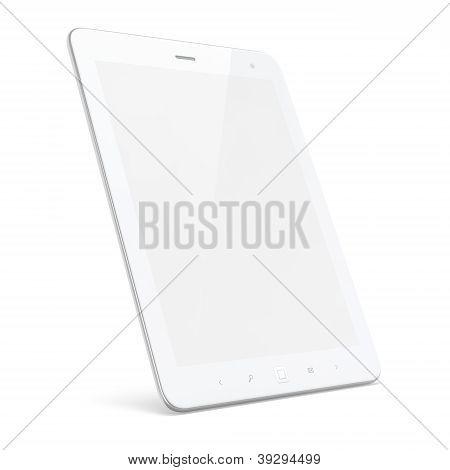 Pc de la tableta blanca hermosa sobre fondo blanco